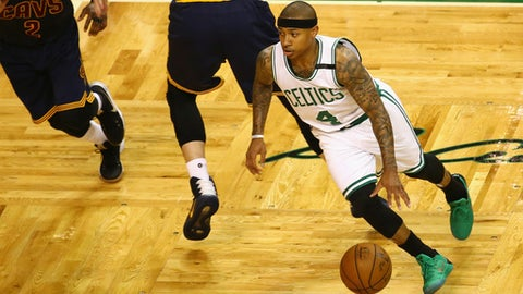 BOSTON, MA - MAY 19:  Isaiah Thomas #4 of the Boston Celtics dribbles the ball in the first half against the Cleveland Cavaliers during Game Two of the 2017 NBA Eastern Conference Finals at TD Garden on May 19, 2017 in Boston, Massachusetts. NOTE TO USER: User expressly acknowledges and agrees that, by downloading and or using this photograph, User is consenting to the terms and conditions of the Getty Images License Agreement.  (Photo by Adam Glanzman/Getty Images)