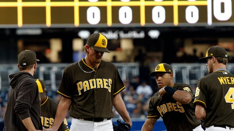 San Diego Padres starting pitcher Jered Weaver, center, gives the ball to manager Andy Green, left, with second baseman Yangervis Solarte, second from right and first baseman Wil Myers, right, walking to the mound during the first inning of a baseball game against the Arizona Diamondbacks in San Diego, Friday, May 19, 2017. Weaver was charged with seven earned runs, on five hits, after being removed in two-thirds of an inning against the Diamondbacks. (AP Photo/Alex Gallardo)