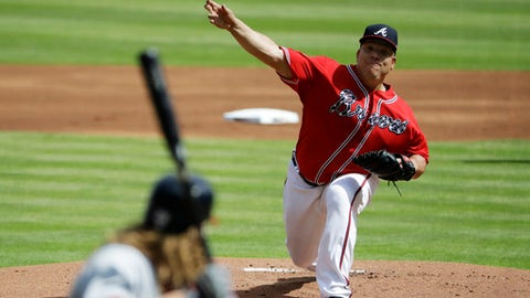 Atlanta Braves starting pitcher Bartolo Colon throws to Washington Nationals' Jayson Werth in the first inning of a baseball game in Atlanta, Saturday, May 20, 2017. (AP Photo/David Goldman)