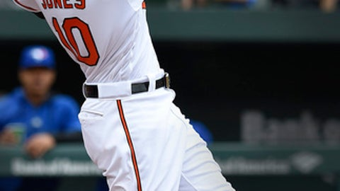 Baltimore Orioles' Adam Jones follows through on a solo home run against theToronto Blue Jays in the fourth inning of a baseball game, Sunday, May 21, 2017, in Baltimore. (AP Photo/Gail Burton)