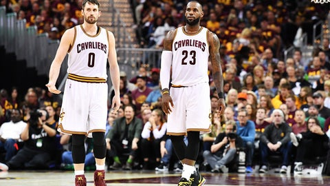 CLEVELAND, OH - MAY 21:  Kevin Love #0 and LeBron James #23 of the Cleveland Cavaliers react in the second half during Game Three of the 2017 NBA Eastern Conference Finals against the Boston Celtics at Quicken Loans Arena on May 21, 2017 in Cleveland, Ohio. NOTE TO USER: User expressly acknowledges and agrees that, by downloading and or using this photograph, User is consenting to the terms and conditions of the Getty Images License Agreement.  (Photo by Jason Miller/Getty Images)
