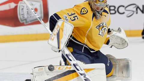 Nashville Predators goalie Pekka Rinne (35), of Finland, stops a shot against the Anaheim Ducks during the first period in Game 6 of the Western Conference final in the NHL hockey Stanley Cup playoffs Monday, May 22, 2017, in Nashville, Tenn. (AP Photo/Mark Humphrey)
