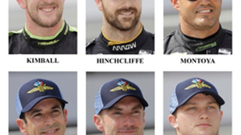 Drivers in the starting field for the May 28, 2017 Indianapolis 500 IndyCar auto race are shown after they qualified at the Indianapolis Motor Speedway in Indianapolis, Saturday, May 20, 2017. Fifth Row: Mikhail Aleshin, of Russia; Graham Rahal; Max Chilton, of England. Sixth Row: Charlie Kimball; James Hinchcliffe, of Canada; Juan Pablo Montoya, of Colombia. Seventh Row: Helio Castroneves, of Brazil; Jay Howard, of England; Sage Karam. Eighth Row: Josef Newgarden; Simon Pagenaud, of France; Carlos Munoz, of Colombia. (AP Photo/Dave Parker)