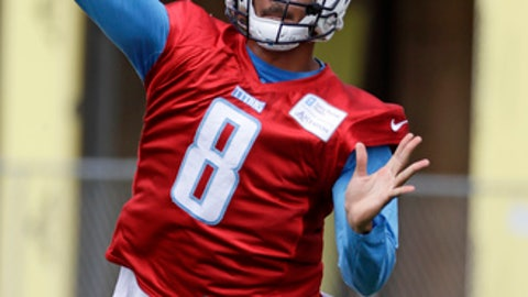 Tennessee Titans quarterback Marcus Mariota passes during the team's organized team activity at its NFL football training facility Tuesday, May 23, 2017, in Nashville, Tenn. (AP Photo/Mark Humphrey)