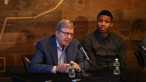 MILWAUKEE, WI - SEPTEMBER 20:  Milwaukee Bucks general manager John Hammond and head coach Jason Kidd join Giannis Antetokounmpo for a press conference announcing Antetokounmpo's contract extension at the Milwaukee Bucks Preview Center on September 20, 2016 in Milwaukee, Wisconsin. NOTE TO USER:  User expressly acknowledges and agrees that, by downloading and or using this Photograph, user is consenting to the terms and conditions of the Getty Images License Agreement.  Mandatory Copyright Notice:  Copyright 2016 NBAE (Photo by Gary Dineen/NBAE via Getty Images)