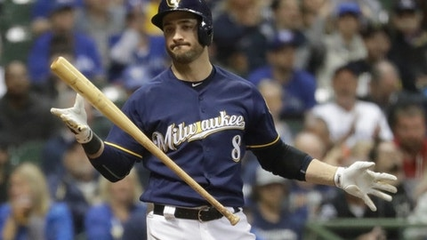 Milwaukee Brewers' Ryan Braun reacts after striking out with runners at second and third during the fifth inning of a baseball game against the Toronto Blue Jays Tuesday, May 23, 2017, in Milwaukee. (AP Photo/Morry Gash)