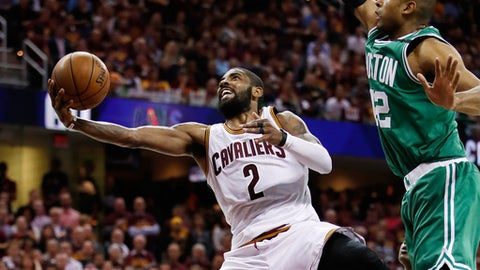 CLEVELAND, OH - MAY 23:  Kyrie Irving #2 of the Cleveland Cavaliers shoots against Al Horford #42 of the Boston Celtics late in the third quarter during Game Four of the 2017 NBA Eastern Conference Finals at Quicken Loans Arena on May 23, 2017 in Cleveland, Ohio. NOTE TO USER: User expressly acknowledges and agrees that, by downloading and or using this photograph, User is consenting to the terms and conditions of the Getty Images License Agreement.  (Photo by Gregory Shamus/Getty Images)
