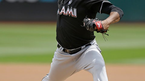 Miami Marlins pitcher Edinson Volquez works against the Oakland Athletics in the first inning of a baseball game Wednesday, May 24, 2017, in Oakland, Calif. (AP Photo/Ben Margot)