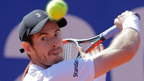 FILE - In this Friday, April 28, 2017 file photo, Andy Murray of Britain eyes the ball before playing a return shot to Albert Ramos-Vinolas of Spain during a quarterfinal match at the Barcelona Open Tennis Tournament in Barcelona, Spain. After months of disappointment and a lack of motivation, Andy Murray is counting on the French Open starting on Sunday May 28, 2017, to turn his season around. (AP Photo/Manu Fernandez, File)