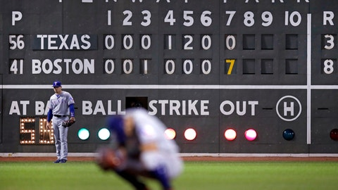 Texas Rangers left fielder Ryan Rua, left, waits for the final pitch of the seven-run, seventh inning during a baseball game against the Boston Red Sox at Fenway Park in Boston, Wednesday, May 24, 2017. (AP Photo/Charles Krupa)