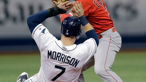 Los Angeles Angels second baseman Danny Espinosa forces Tampa Bay Rays' Logan Morrison (7) out at second base on a fielder's choice by Tim Beckham during the eighth inning of a baseball game Wednesday, May 24, 2017, in St. Petersburg, Fla. (AP Photo/Chris O'Meara)