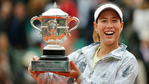 FILE - In this June 4, 2016, file photo, Garbine Muguruza holds the trophy after winning the women's final of the French Open tennis tournament against Serena Williams, in Paris, France. Muguruza will be competing in the French Open. (AP Photo/Alastair Grant, File)