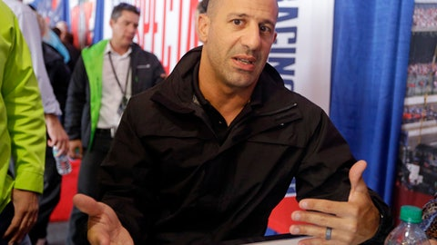 Tony Kanaan, of Brazil, answers a question during a press conference for the Indianapolis 500 IndyCar auto race at Indianapolis Motor Speedway, Thursday, May 25, 2017 in Indianapolis. (AP Photo/Michael Conroy)