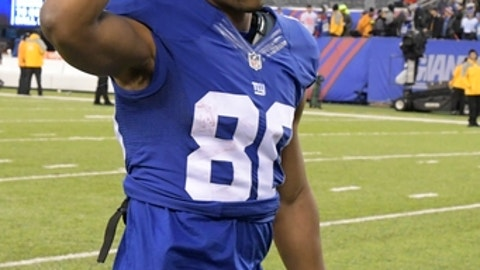 New York Giants wide receiver Victor Cruz (80) leaves the field after an NFL football game against the Detroit Lions Sunday, Dec. 18, 2016, in East Rutherford, N.J. The Giants won 17-6. (AP Photo/Bill Kostroun)