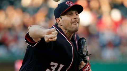 Washington Nationals starting pitcher Max Scherzer throws during the third inning of a baseball game against the San Diego Padres at Nationals Park, Friday, May 26, 2017, in Washington. (AP Photo/Alex Brandon)