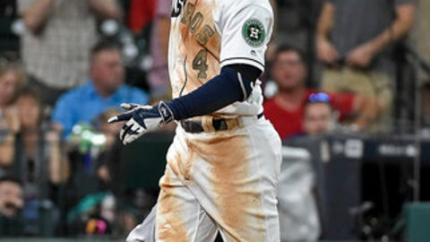 Houston Astros' George Springer celebrates his two-run home run off Baltimore Orioles starting pitcher Wade Miley during the fourth inning of a baseball game, Saturday, May 27, 2017, in Houston. (AP Photo/Eric Christian Smith)