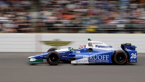 Takuma Sato, of Japan, heads into the first turn during the running of the Indianapolis 500 auto race at Indianapolis Motor Speedway, Sunday, May 28, 2017, in Indianapolis. (AP Photo/Darron Cummings)