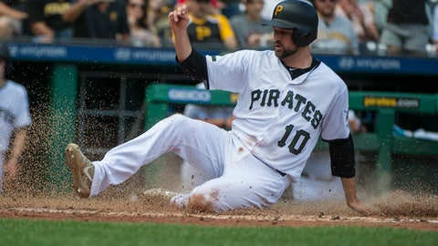 Pittsburgh Pirates' Jordy Mercer slides safely into home on a sacrifice fly by Josh Bell during the fourth inning of a baseball game against the Arizona Diamondbacks in Pittsburgh, Monday, May 29, 2017. (AP Photo/Phil Long)