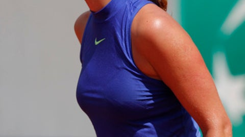 Petra Kvitova of the Czech Republic reacts after missing a shot against Bethanie Mattek-Sands of the U.S. during their second round match of the French Open tennis tournament at the Roland Garros stadium, in Paris, France. Wednesday, May 31, 2017. (AP Photo/Christophe Ena)