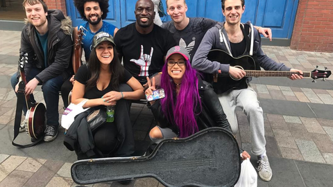 Bayley, Sasha Banks and Titus O'Neil in Belfast, Northern Ireland
