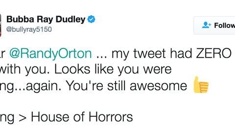 "Bubba Ray clarified his original post, and took a hilarious shot at Orton's experimental ""House of Horrors"" match with Bray Wyatt"