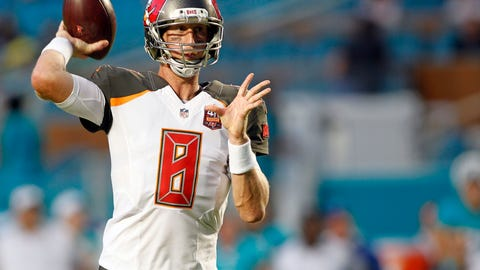 Sep 3, 2015; Miami Gardens, FL, USA; Tampa Bay Buccaneers quarterback Mike Glennon (8) passes against the Miami Dolphins in the first quarter at Sun Life Stadium. Mandatory Credit: Andrew Innerarity-USA TODAY Sports