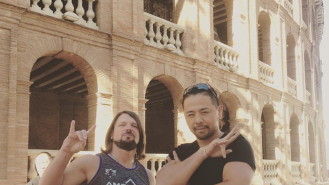 AJ Styles and Shinsuke Nakamura in Valencia, Spain