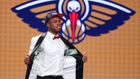 Jun 23, 2016; New York, NY, USA; Buddy Hield (Oklahoma) shows off the inside of his jacket after being selected as the number six overall pick to the New Orleans Pelicans in the first round of the 2016 NBA Draft at Barclays Center. Mandatory Credit: Brad Penner-USA TODAY Sports