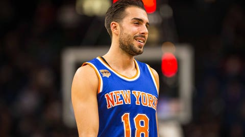 Nov 30, 2016; Minneapolis, MN, USA; New York Knicks guard Sasha Vujacic (18) during a game at Target Center. The Knicks defeated the Timberwolves 106-104. Mandatory Credit: Brace Hemmelgarn-USA TODAY Sports