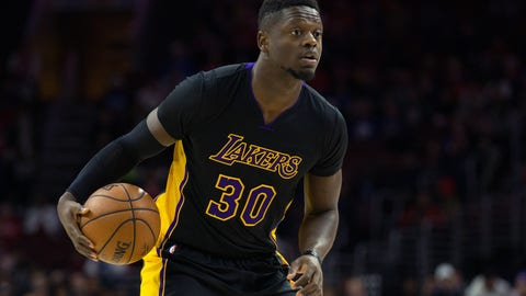 Dec 16, 2016; Philadelphia, PA, USA; Los Angeles Lakers forward Julius Randle (30) handles the ball against the Philadelphia 76ers during the first quarter at Wells Fargo Center. Mandatory Credit: Bill Streicher-USA TODAY Sports
