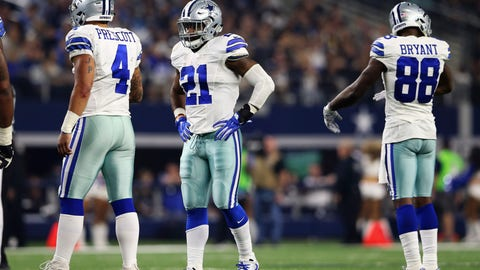 Dec 26, 2016; Arlington, TX, USA; Dallas Cowboys quarterback Dak Prescott (4) and running back Ezekiel Elliott (21) and wide receiver Dez Bryant (88) during the game against the Detroit Lions at AT&T Stadium. Mandatory Credit: Kevin Jairaj-USA TODAY Sports