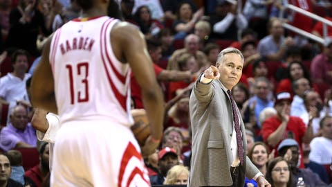 Mar 24, 2017; Houston, TX, USA; Houston Rockets head coach Mike D'Antoni points towards guard James Harden (13) after a play during the fourth quarter against the New Orleans Pelicans at Toyota Center. Mandatory Credit: Troy Taormina-USA TODAY Sports