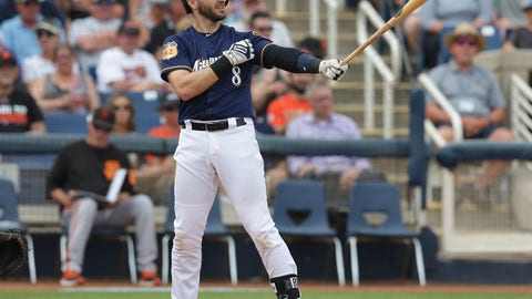 Mar 22, 2017; Phoenix, AZ, USA; Milwaukee Brewers left fielder Ryan Braun (8) during a spring training game against the San Francisco Giants at Maryvale Baseball Park. Mandatory Credit: Rick Scuteri-USA TODAY Sports