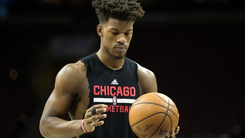 Apr 6, 2017; Philadelphia, PA, USA; Chicago Bulls forward Jimmy Butler (21) warms up before acton against the Philadelphia 76ers at Wells Fargo Center. Mandatory Credit: Bill Streicher-USA TODAY Sports