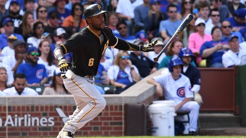 CHICAGO, IL - APRIL 16: Pittsburgh Pirates center fielder Starling Marte (6) at bat during a game between the Pittsburgh Pirates and the Chicago Cubs on April 16, 2017, at Wrigley Field in Chicago, IL. (Photo by Patrick Gorski/Icon Sportswire)