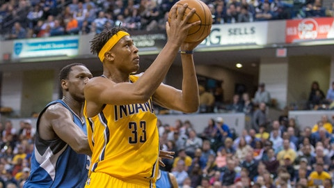 Mar 28, 2017; Indianapolis, IN, USA; Indiana Pacers center Myles Turner (33) shoots the ball while Minnesota Timberwolves forward Gorgui Dieng (5) defends in the second half of the game at Bankers Life Fieldhouse. The Minnesota Timberwolves beat the Indiana Pacers 115-114. Mandatory Credit: Trevor Ruszkowski-USA TODAY Sports