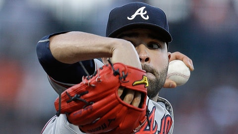 Atlanta Braves pitcher Jaime García works against the San Francisco Giants in the first inning of a baseball game Friday, May 26, 2017, in San Francisco. (AP Photo/Ben Margot)