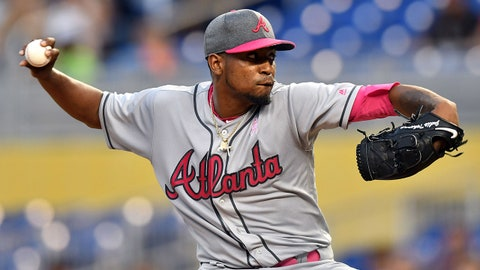 May 13, 2017; Miami, FL, USA; Atlanta Braves starting pitcher Julio Teheran (49) throws during the first inning against the Miami Marlins at Marlins Park. Mandatory Credit: Steve Mitchell-USA TODAY Sports