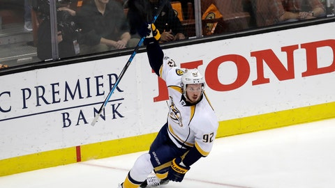 Nashville Predators' Ryan Johansen (92) celebrates after scoring a goal against the Anaheim Ducks during the first period of Game 2 of the Western Conference final in the NHL hockey Stanley Cup playoffs, Sunday, May 14, 2017, in Anaheim, Calif. (AP Photo/Chris Carlson)