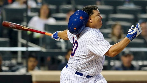 NEW YORK, NY - MAY 05:  Bartolo Colon #40 of the New York Mets strikes out swining in the third inning against the Baltimore Orioles on May 5, 2015 at Citi Field in the Flushing neighborhood of the Queens borough of New York City.  (Photo by Elsa/Getty Images)