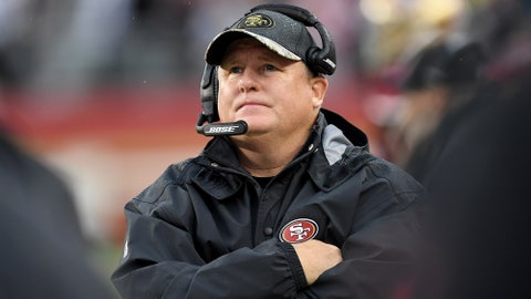 SANTA CLARA, CA - NOVEMBER 20:  Head coach Chip Kelly of the San Francisco 49ers looks on from the sidelines against the New England Patriots in the fourth quarter of their NFL football game at Levi's Stadium on November 20, 2016 in Santa Clara, California.  (Photo by Thearon W. Henderson/Getty Images)