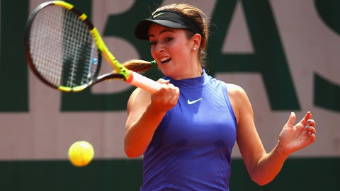 PARIS, FRANCE - MAY 31:  Catherine Bellis of The United States plays a forehand during the ladies singles second round match against Kiki Bertens of The Netherlands on day four of the 2017 French Open at Roland Garros on May 31, 2017 in Paris, France.  (Photo by Clive Brunskill/Getty Images)