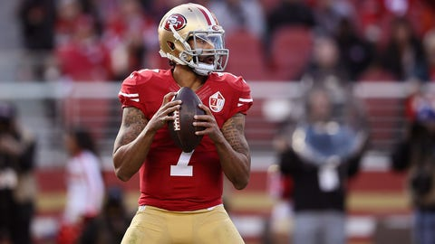 SANTA CLARA, CA - JANUARY 01: Colin Kaepernick #7 of the San Francisco 49ers drops back to pass against the Seattle Seahawks at Levi's Stadium on January 1, 2017 in Santa Clara, California.  (Photo by Ezra Shaw/Getty Images)