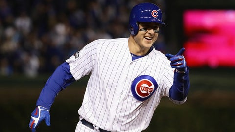 CHICAGO, IL - OCTOBER 22:  Anthony Rizzo #44 of the Chicago Cubs reacts as he runs the bases after hitting a solo home run in the fifth inning against the Los Angeles Dodgers during game six of the National League Championship Series at Wrigley Field on October 22, 2016 in Chicago, Illinois.  (Photo by Jonathan Daniel/Getty Images)