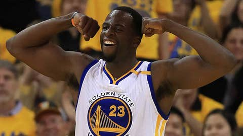 OAKLAND, CA - MAY 04:  Draymond Green #23 of the Golden State Warriors reacts against the Utah Jazz during Game Two of the NBA Western Conference Semi-Finals at ORACLE Arena on May 4, 2017 in Oakland, California.  NOTE TO USER: User expressly acknowledges and agrees that, by downloading and or using this photograph, User is consenting to the terms and conditions of the Getty Images License Agreement.  (Photo by Ezra Shaw/Getty Images)