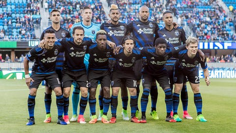 SAN JOSE, CA - MAY 06: The startling lineup of the San Jose Earthquakes pose prior to the Major League Soccer game between the Portland Timbers and the San Jose Earthquakes at Avaya stadium in San Jose, CA. (Photo by Bob Kupbens/Icon Sportswire) (Icon Sportswire via AP Images)