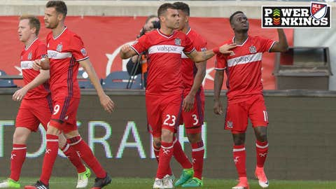 BRIDGEVIEW, IL - MAY 25: Chicago Fire forward David Accam (11) celebrates scoring a goal in the first half during an MLS soccer match between FC Dallas and the Chicago Fire on May 25, 2017, at Toyota Park in Chicago, IL. (Photo By Daniel Bartel/Icon Sportswire via Getty Images)