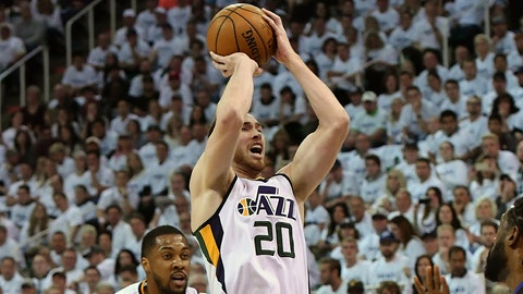 SALT LAKE CITY, UT - APRIL 21: Gordon Hayward #20 of the Utah Jazz shoots the ball in the first half against the Los Angeles Clippers in Game Three of the Western Conference Quarterfinals during the 2017 NBA Playoffs at Vivint Smart Home Arena on April 21, 2017 in Salt Lake City, Utah. NOTE TO USER: User expressly acknowledges and agrees that, by downloading and or using this photograph, User is consenting to the terms and conditions of the Getty Images License Agreement. (Photo by Gene Sweeney Jr/Getty Images)