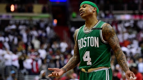 WASHINGTON, DC - MAY 07: Isaiah Thomas #4 of the Boston Celtics reacts after a call in the second half against the Washington Wizards in Game Four of the Eastern Conference Semifinals at Verizon Center on May 7, 2017 in Washington, DC. NOTE TO USER: User expressly acknowledges and agrees that, by downloading and or using this photograph, User is consenting to the terms and conditions of the Getty Images License Agreement. (Photo by Patrick McDermott/Getty Images)