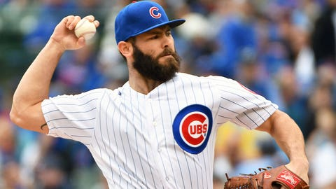 CHICAGO, IL - MAY 21: Chicago Cubs Starting pitcher Jake Arrieta (49) delivers a pitch during a MLB game between the Chicago Cubs and Milwaukee Brewers on May 21, 2017 at Wrigley Field in Chicago, IL. The Cubs defeated the Brewers 13-6. (Photo by Nick Wosika/Icon Sportswire via Getty Images)
